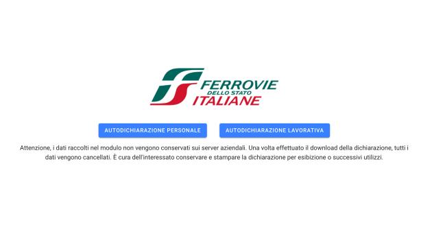 FS Italiane: link per scaricare autocertificazione
