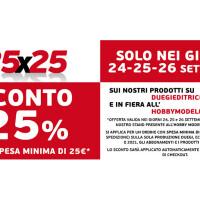 25×25, il 24-26-26 settembre approfitta degli sconti sui prodotti Duegi